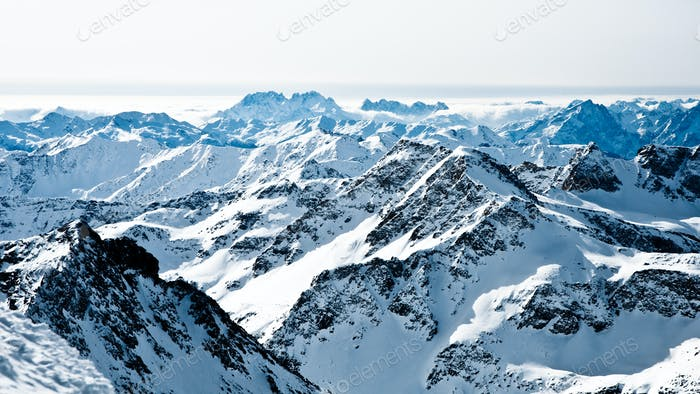 mountaintops in winter, Alps