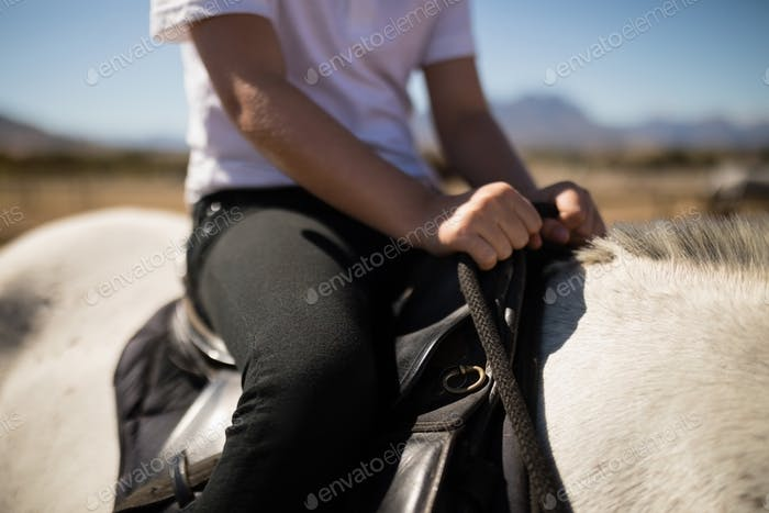Child sitting on the horse back
