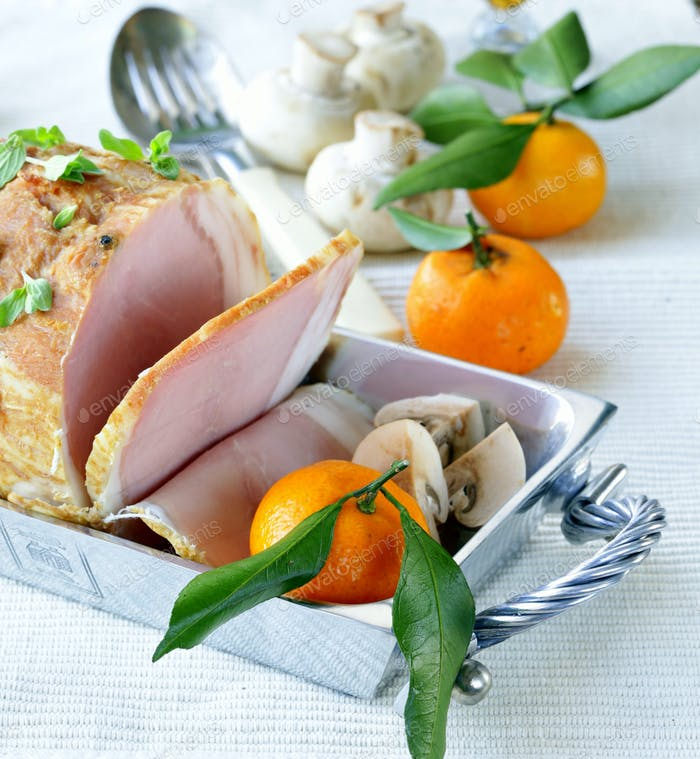 Roast Pork with Mushrooms and Tangerines