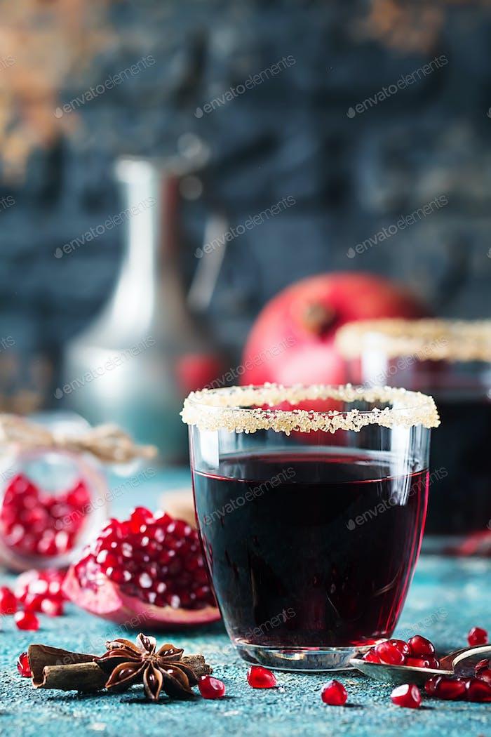 A glass of pomegranate juice