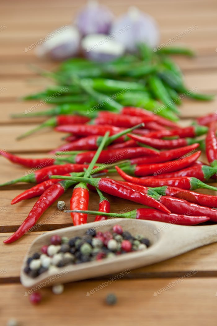 Fresh peppers and spices