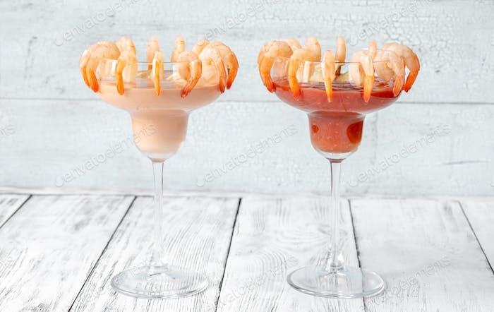 Garnelen- und Garnelen-Cocktails