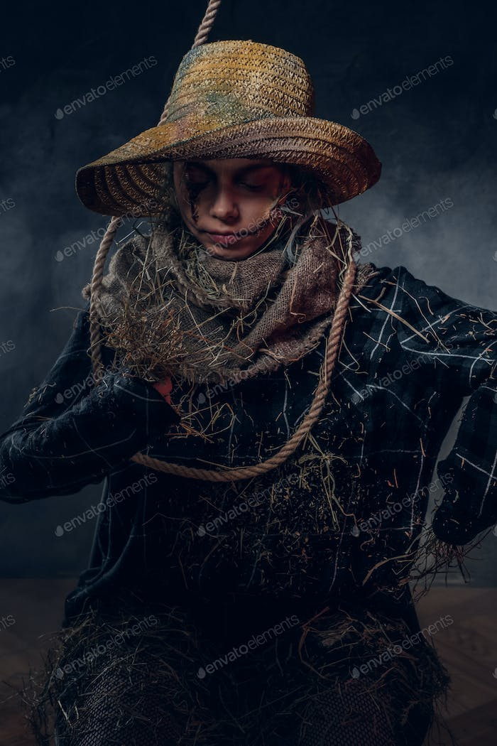 Thumbnail for Hallowee costume concept - pretty girl is a scarecrow