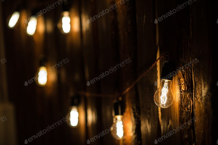 Vintage incandescent Edison type bulbs on wooden wall