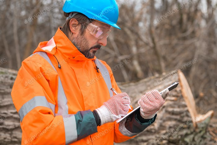 Forestry technician collecting data notes in forest