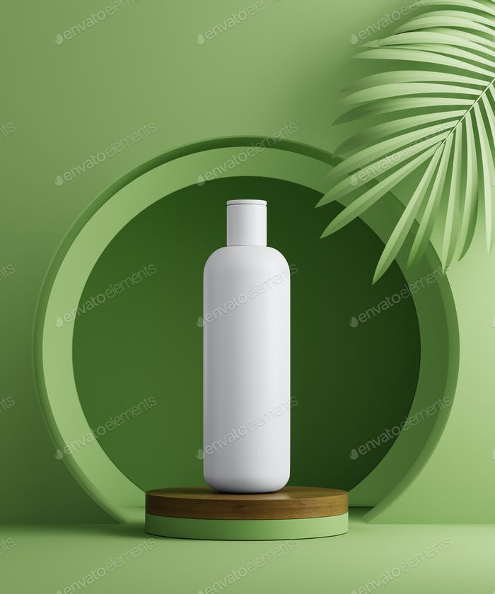3D illustration geometric pedestal with cosmetic bottle presentation and palm leaves. Abstract
