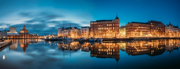 Helsinki, Finland. Panoramic View Of Kanavaranta Street With Usp