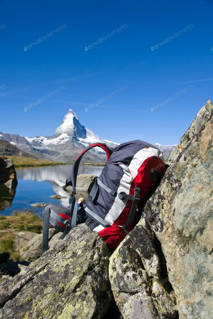 Backpack in front of the Matterhorn