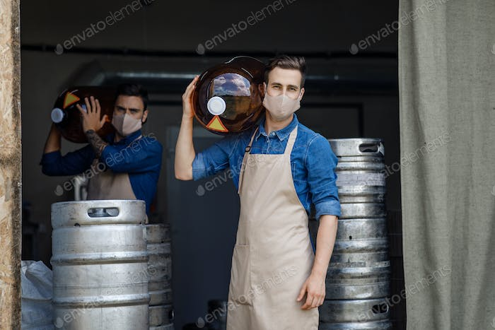 Male work in brewery during coronavirus quarantine
