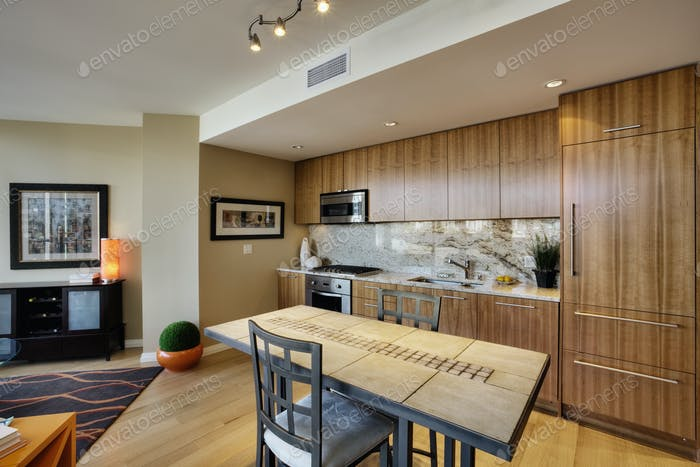 Kitchen and Dining Area in Upscale Condo