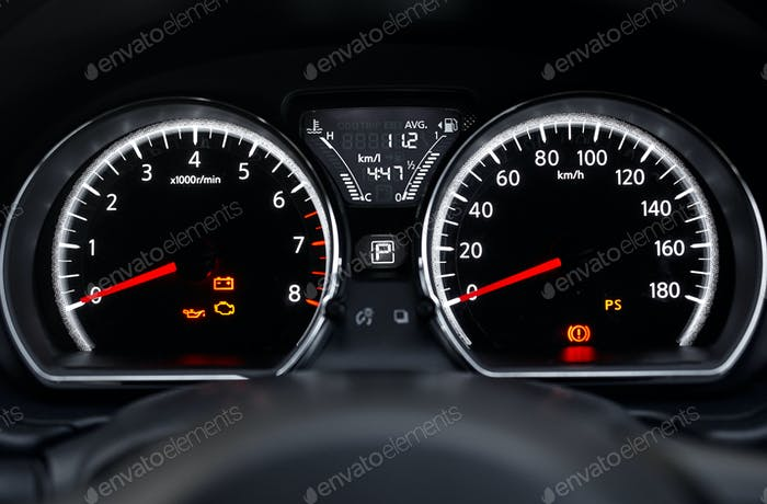 The sing and symbol on car dashboard