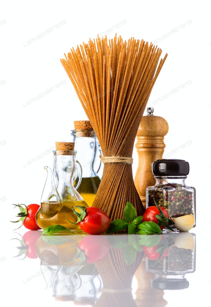 Brown Spaghetti Pasta with Spices on White Background