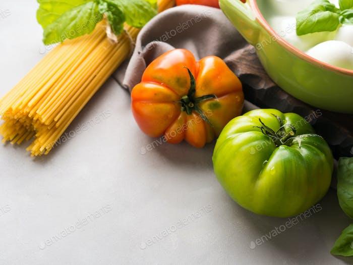 Italian food tomato mozzarella still life
