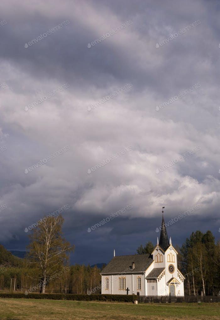 Vradal church in bad weather