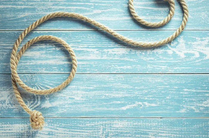 ship rope on wood