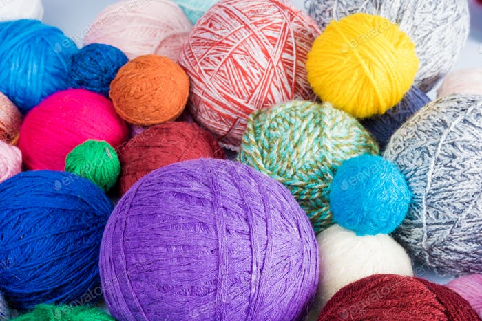 Balls of  wool, made by hand. colorful balls from wool