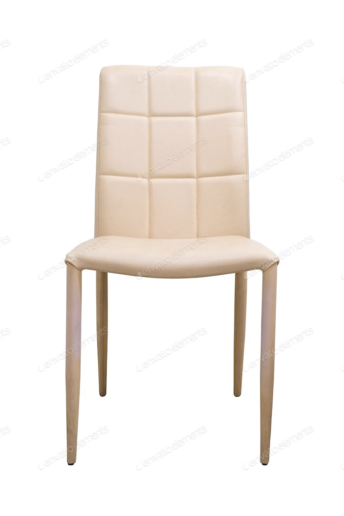 Leather chair on white background.