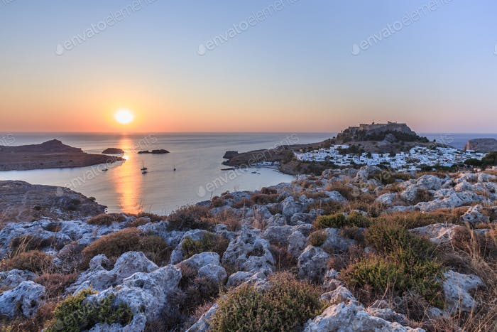 sunrise in the Lindos, Greece