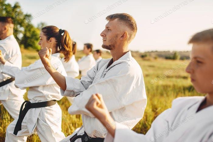 Каратэ группа по обучению на летнем поле