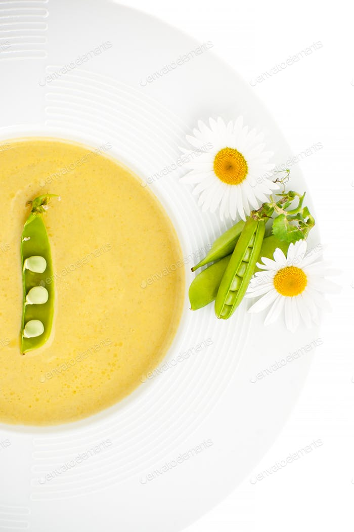 Pea Sticks and Flowers Daisies on the edge of a white plate with