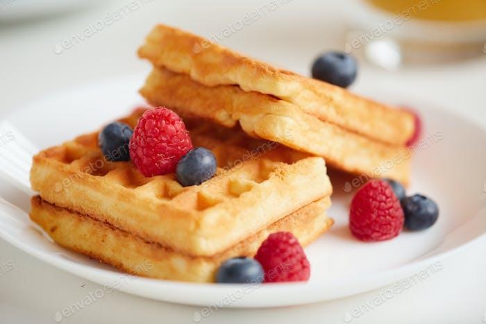 Golden Waffle Dessert Close Up