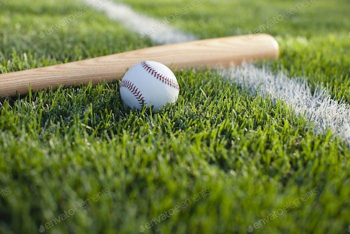 Baseball Bat and Ball on Grass Near Field Stripe