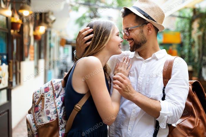 Happy romantic couple in love having fun outdoor in summer day
