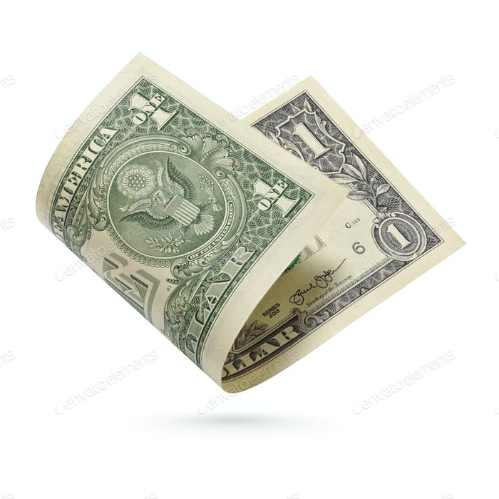 One dollars bill isolated on a white background.
