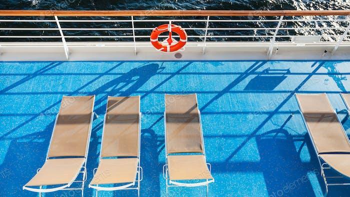 top view of chairs on upper deck of cruise liner