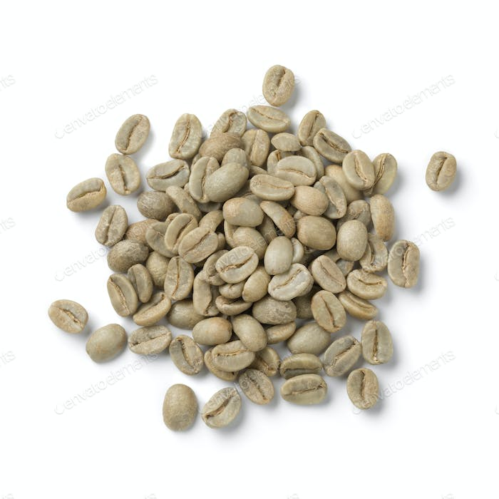 Heap of green unroasted Bolivian Yanaloma coffee beans