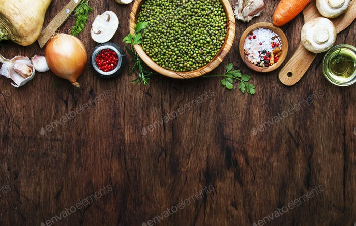 Ingredients for prepare green lentils with vegetables