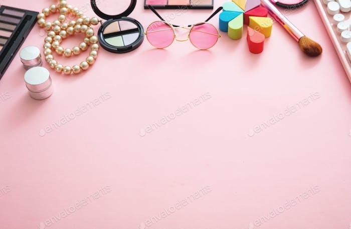 Essentials fashion female accessories on pink background