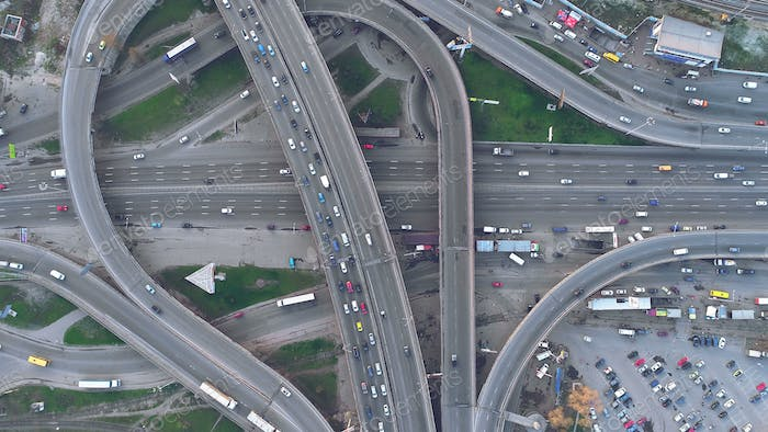 top down view overpass road day traffic in kiev