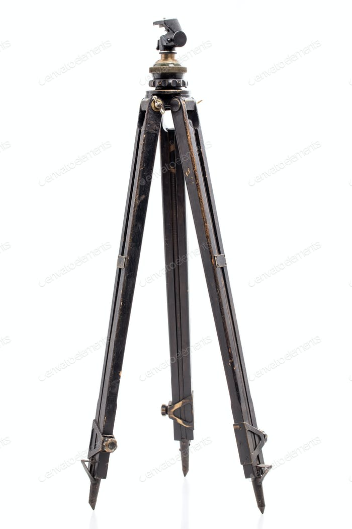 Old expedition oaken wooden tripod.