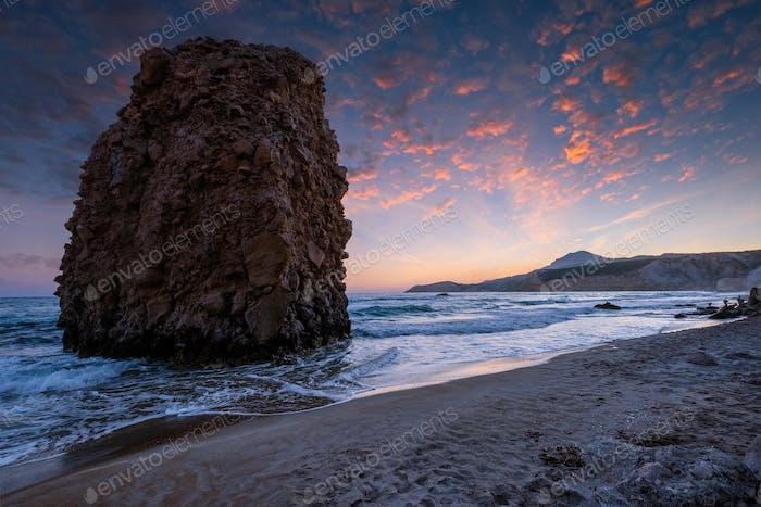 Fyriplaka beach on sunset, Milos island, Cyclades, Greece