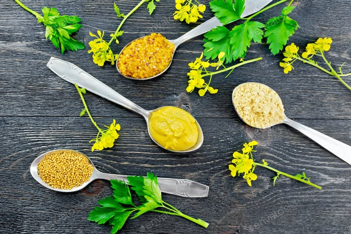 Mustard different in spoons on board top