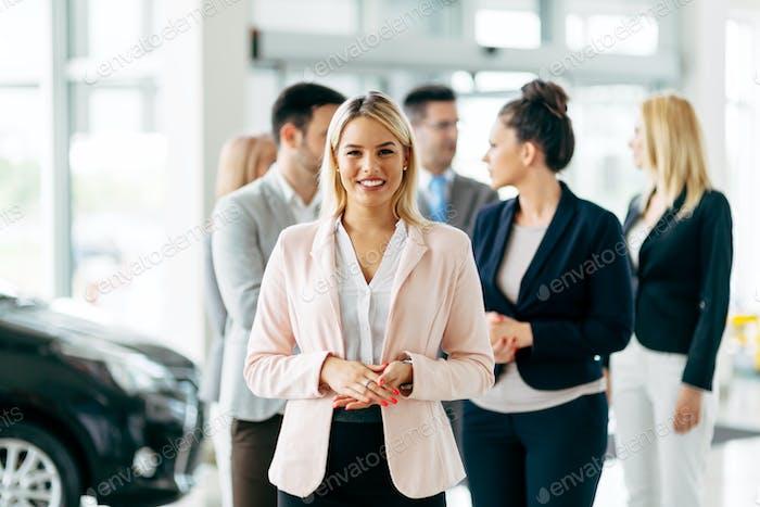 Team of professional salespeople
