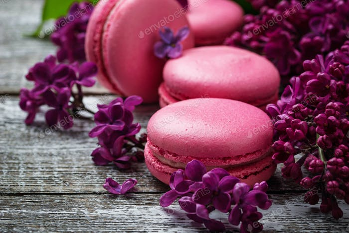 Pink macaroons and lilac.