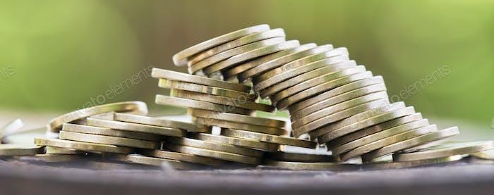 Golden money coins