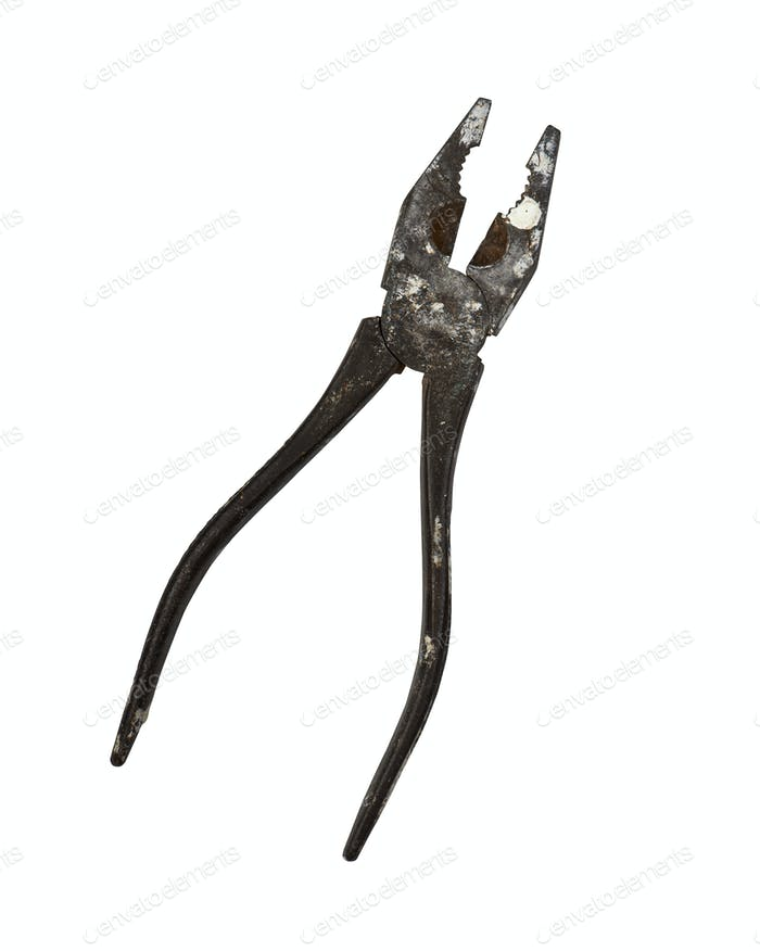 rusty pliers on a plain white background