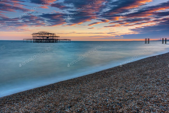 The old destroyed West Pier in Brighton
