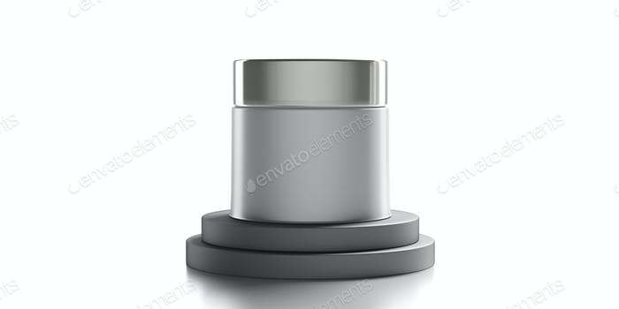 Glass cosmetic jar with silver cover isolated against white background. 3d illustration