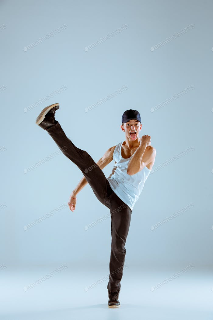 The man dancing hip hop choreography