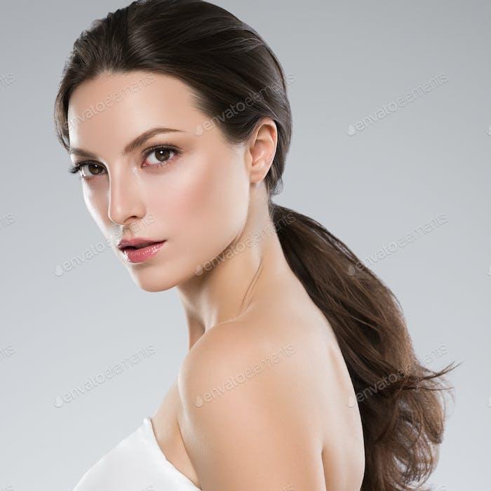 Beauty natural skin woman face healthy hair and natural makeup