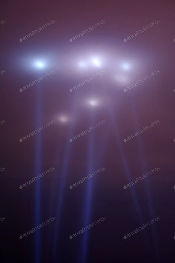 Spotlights in the night sky