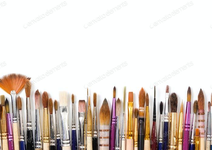 Artistic brushes isolated on white background.