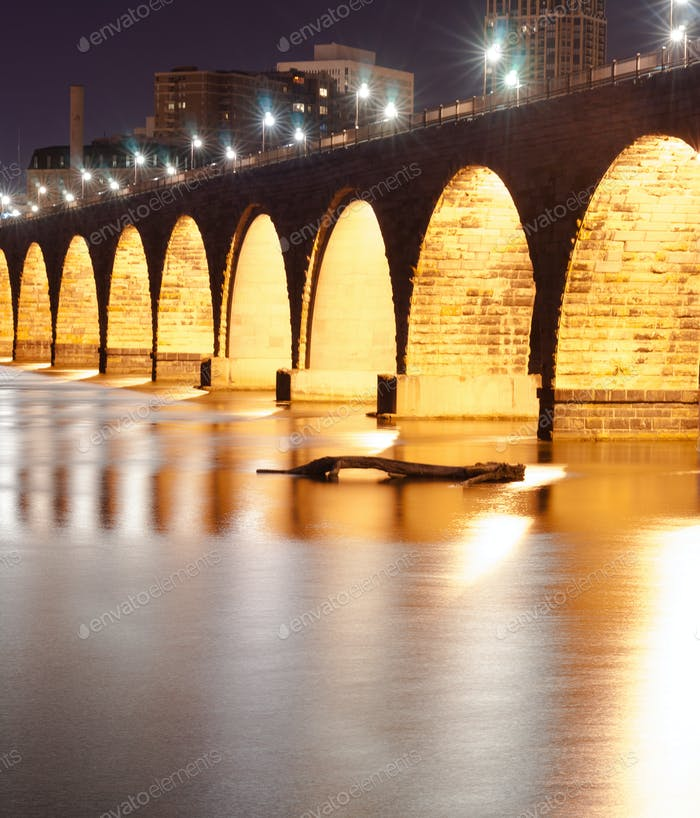 Stone Arch Bridge St Paul Minnesota Mississippi River Night