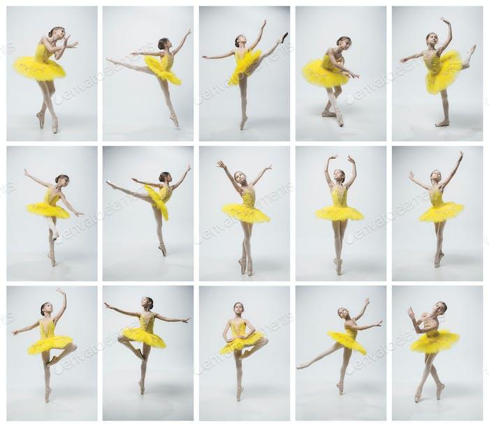 Молодая классическая танцовщица на белом фоне.