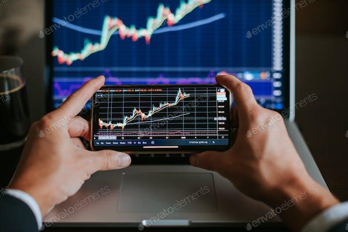gráfico de análisis de riesgos de corredor de bolsa de inversión