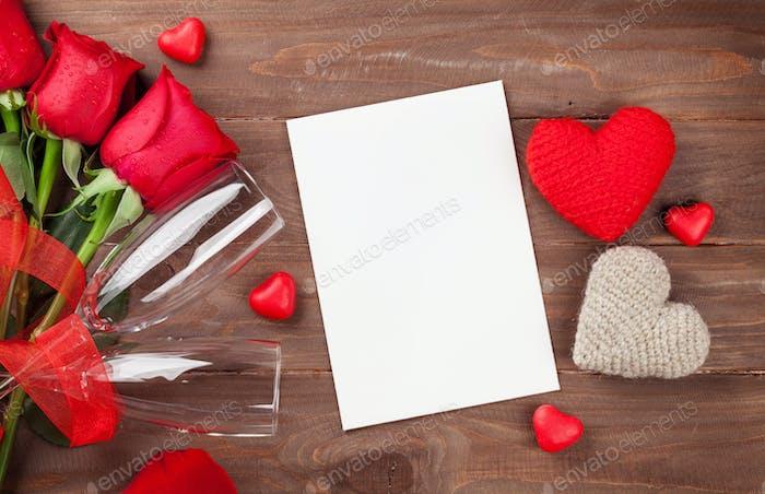 Valentinstagskarte, Champagner und Rosen